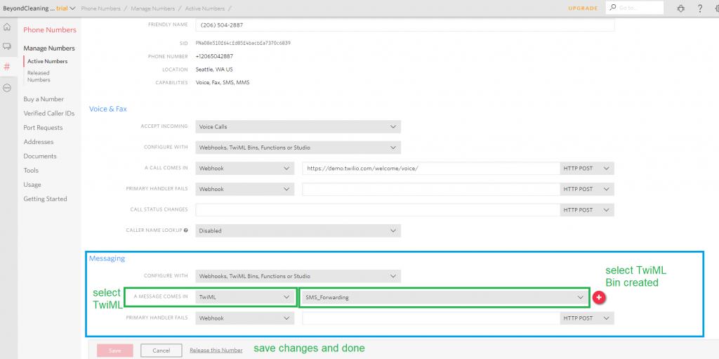 Twilio SMS Forwarding Settings | ServiceMonster Support
